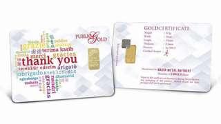 """0.5g Gold Bar 999.9 """"Thank You"""""""