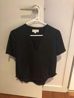 Showpo Black plunge neckline workwear top