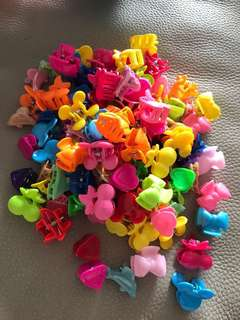 Colourful plastic hair clips