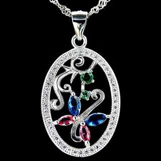 PENDANT OVAL FLOWER PLATED WHITE GOLD WITH NECKLACE