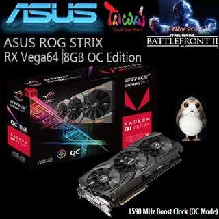 ASUS RX Vega 64 ROG STRIX  8GB OC Edition Radeon VR Ready 5K HD Gaming..#