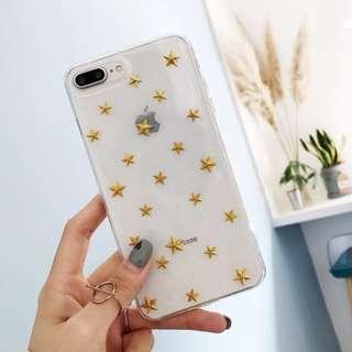 手機殼IPhone6/7/8/plus/X : 韓風金屬星星閃粉底全包邊透明軟殼