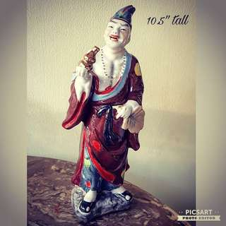 "Vintage Chinese Porcelain Figure of Ji Gong. 10.5"" tall, large and not small. Good Condition, no chip no crack. $20 clearance offer, sms 96337309."