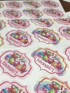 Customised birthday sticker labels shopkins
