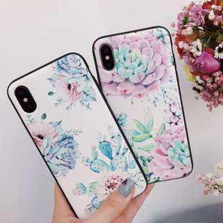 手機殼IPhone6/7/8/plus/X : 水彩花花植物全包黑邊蠶絲紋軟殼