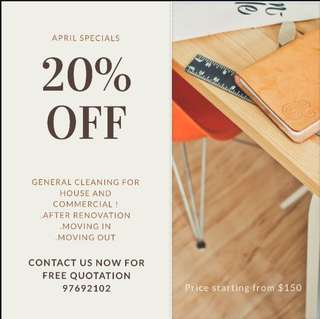 20percent off for general cleaning