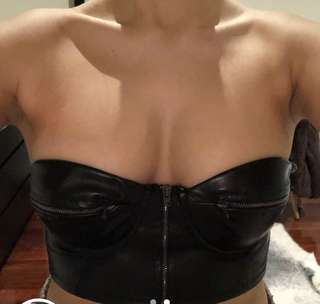 Faux leather crop