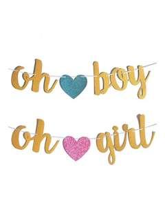 Oh Boy / Oh Girl Glitter Banner
