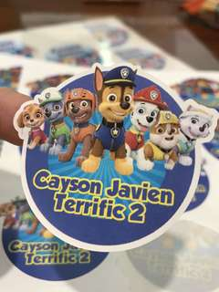 Paw patrol party stickers labels customised