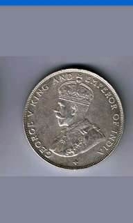 Strait settlement King George v 50 cents coin 1920 XF -AU