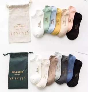 日系簡約風情侶襪星期一二三四五六日#超取半價