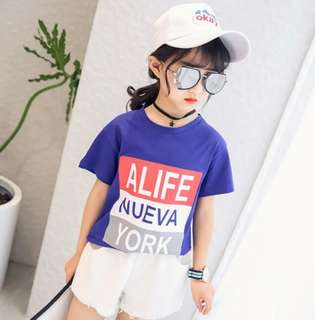 Korean Fashion Letter Printing Round Neck Loose Blue T-shirt