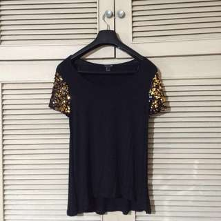 F21 Blouse with Sequined sleeves