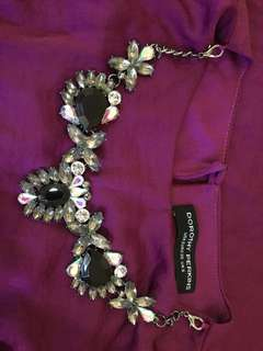 Dorothy Perkins Wine Red Long Dress with Detachable Pendant