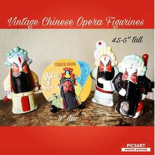 "Vintage Chinese Porcelain Figures of Opera Characters for Sale. 3pcs for $10 offer + FOC beautiful round display (3"" dia, resin).  Good condition. Sms 96337309."
