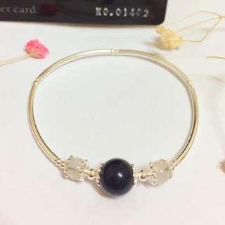 🚚 香港正生純銀飾-黑曜石搭配月亮石手環