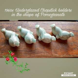Vintage Chinese Porcelain Holder for Chopsticks. Undeglazed light blue-green colour, it comes in lovely shape of two pomegranates. Unused, Good condition no chip no crack. A box of 12pcs for $15 offer, Sms 96337309.