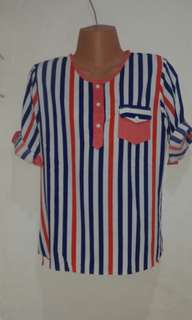 Red, Orange and Blue Striped Blouse
