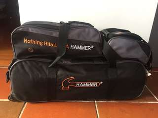 3 Balls Hammer Bowling Tote bag with shoes & accessories bags