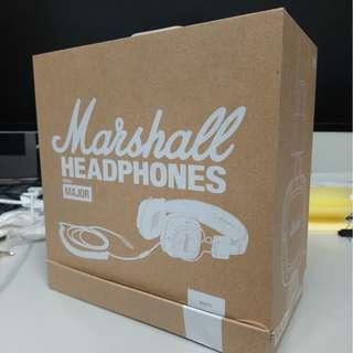 全新白色 Marshall Major 1 代有線 (非藍芽) 耳機