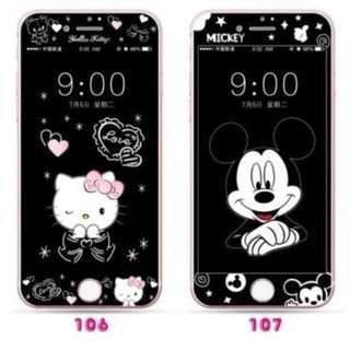 保護膜 IPhone6/7/8/plus : HelloKitty吉蒂貓 / 米奇 3D軟邊鋼化膜