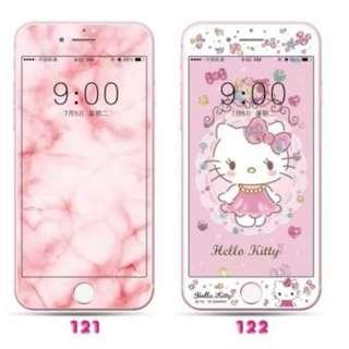 保護膜 IPhone6/7/8/plus : 大理石紋 / HelloKitty吉蒂貓 3D軟邊鋼化膜