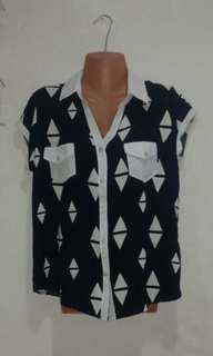 Black and White Casual Blouse
