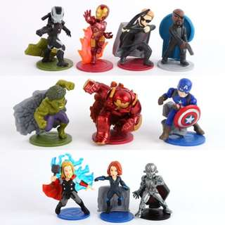 Avengers Infinity War / Iron Man / Hulk / Captain America / Thor / Black Widow Cake Toppers / Figurines (10 Pcs A Set)