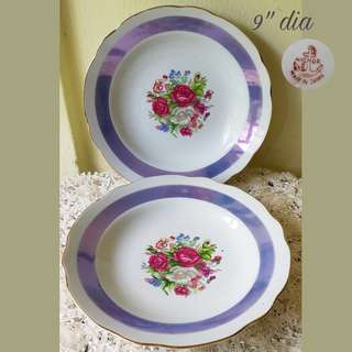 "1960s Vintage Porcelain 9"" Plates with Roses, Fox Gloves and other pretty flowers and matching purple ribbon. It has gold rims on wavy edge. Made in Japan. Unused, Good condition no chip no crack. 2pcs for $8 offer, Sms 96337309."
