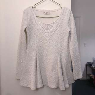 White flowy sequin top