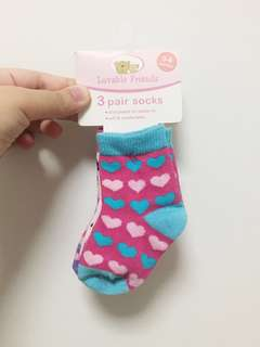 BN LUVABLE FRIENDS 3 PAIR SOCKS (0-6 MONTHS)
