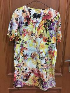 Dress floral yellow colorful