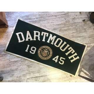 //ORI DECO工業風老件// 美國 1945 大學 學院方旗 banner 綠色絨布