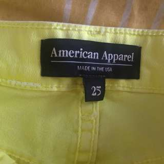 American Apparel High Waisted Yellow Shorts
