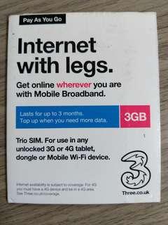 歐洲上網卡 Europe Data Card 3GB Prepaid for 3 Months