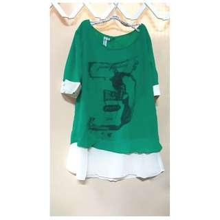 假二件綠底兔雪紡衣