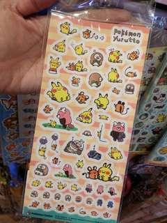 100% 日本 Pokemon Yurutto Kanahei比卡超  粉紅兔兔 P助 cosplay 系列 貼紙 D款