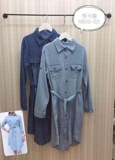 長版牛仔襯衫洋裝