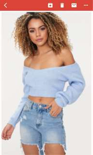 BNWT Baby Blue Cropped Knit Sweater