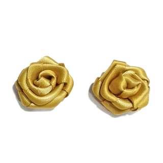 Handmade Dijon Golden Brown Satin Rose Earrings