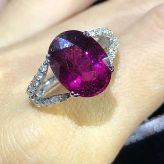 Sold💎超美的盧比萊紅碧璽鑽石💎戒指💍