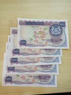 Singapore Orchid $100 Dollars HSS w seal 5run A/5 601671-5 Fresh AUNC
