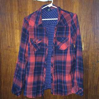 Plaid pattern button down shirt