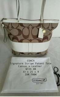 Authentic Coach Signature Stripe Patent Tote Bag with DB