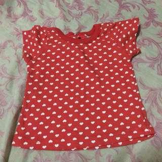 Red Hearts Shirt 3-6mos