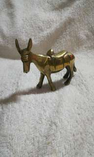 Vintage Solid Brass Donkey, Ornament, Antique, Animal, Decor, Figurine, Gift.