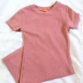 Salmon pink bodycon dress