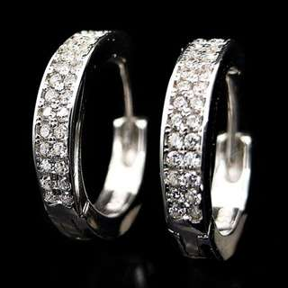 EARRINGS / SUBANG / ANTING CLIP ON CIRCLE PLATED WHITE GOLD