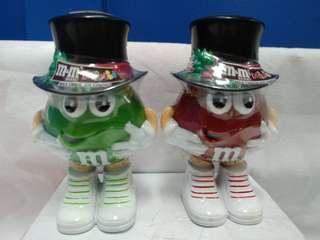 絕版全新 M & M'S MINIS 紅綠色豆形盛器一套 2 件