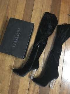 Thigh high boots velvet